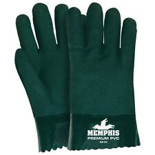 Memphis Glove #6410 Double Dipped PVC Coated Gloves, Jersey Lined, Green 1 Dozen