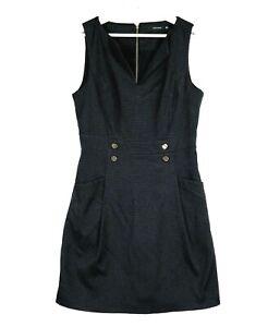Portmans Women's Size 12 Black Sleeveless V-Neck Knee Length Zip Business Dress