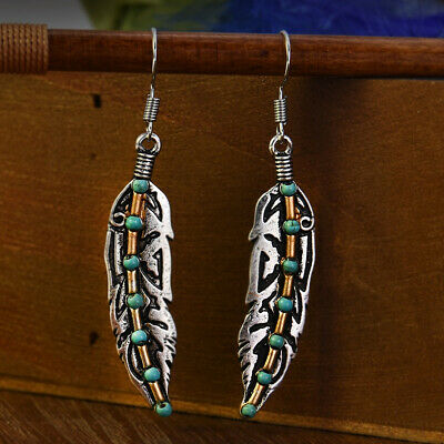 Bohemia Antique Silver Feather Turquoise Bead Drop Dangle Hook Finished Earrings