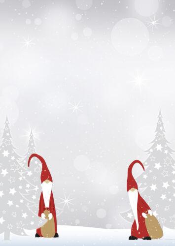 Motivpapier Briefpapier Weihnachten Wichtel grau rot  20 Blatt A4 Christmas xmas