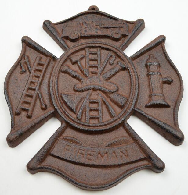 "Cast Iron Firefighting Wall Plaque Fireman Cross Sign Home Decor 7.5"" Wide"