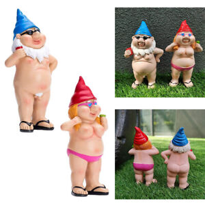 Funny Garden Mini Naked Gnome Statue Outdoor Decorations for Patio Yard Lawn