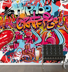 Wall-Mural-Street-HipHop-Graffiti-Pattern-Wallpaper-Art-Interior-Deco-Photo