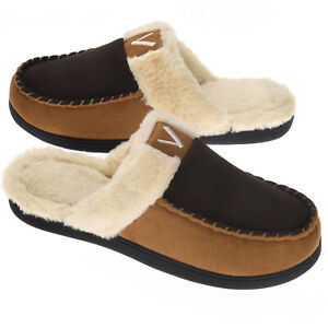 VONMAY Men's Fuzzy Warm Memory Foam Slippers Comfort Slip on House Shoes