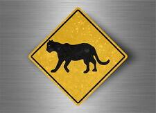 Autocollant sticker laptop macbook panneau route safari attention panthere