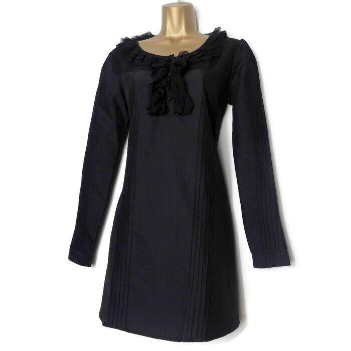 Giorno Birger Et Et Et Mikkelsen SETA Trim Dress Dimensione 10 36 Small Nero Donna Ruffle S a5d2fe