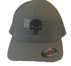 Image is loading PUNISHER-AMERICAN-FLAG-FLEXFIT-HAT-EMBROIDERED-flex-fit- 5bb5f2f8bf4