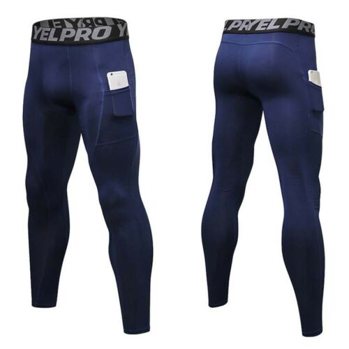 Mens Quick-Drying Elastic Compression Trousers Sport Running Workout Gym  Pants