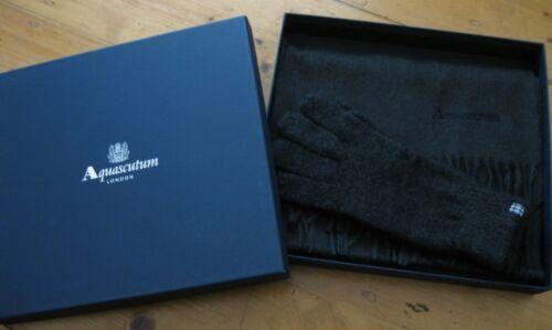 Aquascutum Cashmere /& Lambswool Charcoal Grey Scarf /& Gloves Box Set