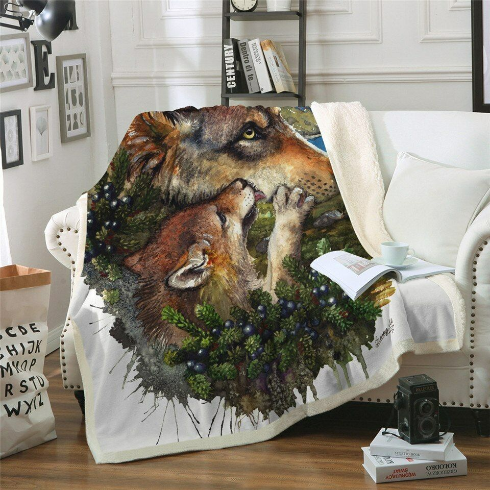 Mother Wolf Cub by SunimaArt Sherpa Plush Throw Blanket Fleece Bed Sofa Couch