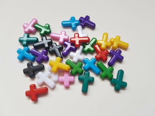 16mm-Cross varios colores disponibles 30 X Abalorios Acrílicos
