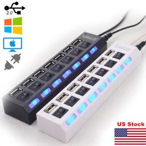 US-7-Port-USB-2-0-HUB-LED-Powered-High-Speed-Splitter-Extender-Cable-Black-White