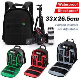 Camera Cam SLR DSLR Photo Video Bag Case Padded Backpack Zipperlock Photography