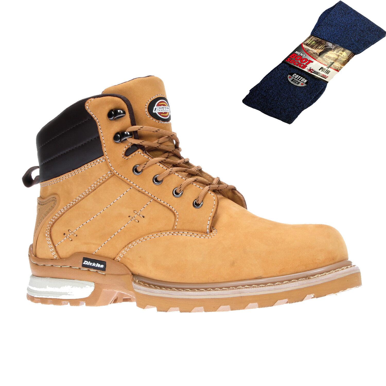 Dickies Canton Seguridad botas de trabajo tan Miel (Tallas 7-12) y 1 Par de Calcetines de arranque