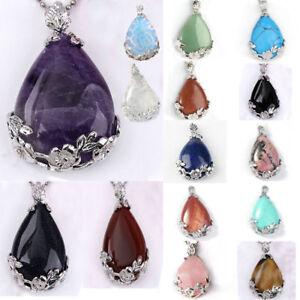 Natural-Quartz-Crystal-Stone-Teardrop-Flower-Healing-Gemstone-Pendant-Necklace