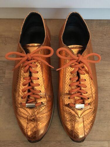 Burberry Orange Metallic Leather Sneakers - UK Size 7