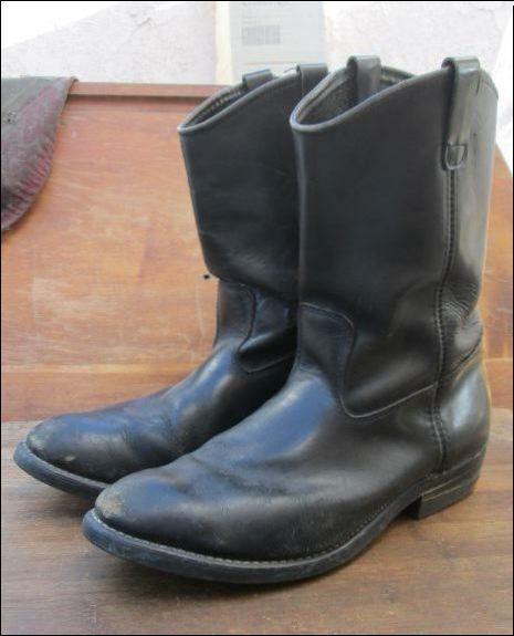 Vintage hecho en los E.e.u.u., ingeniero de cuero negro botas de motociclista para hombres 11 M