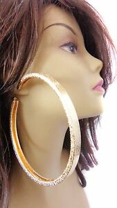 Image Is Loading Large 4 Inch Hoop Earrings Gold Tone Frosted