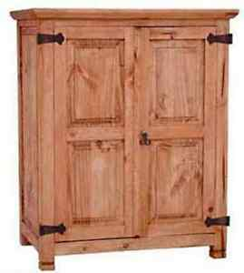 Small Rustic 2 Door Armoire Western Cabin Lodge Pantry Storage Cabinet Honey