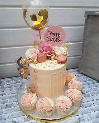 BALLOON CAKE TOPPER GOLD CONFETTI WEDDING PARTY BIRTHDAY ...