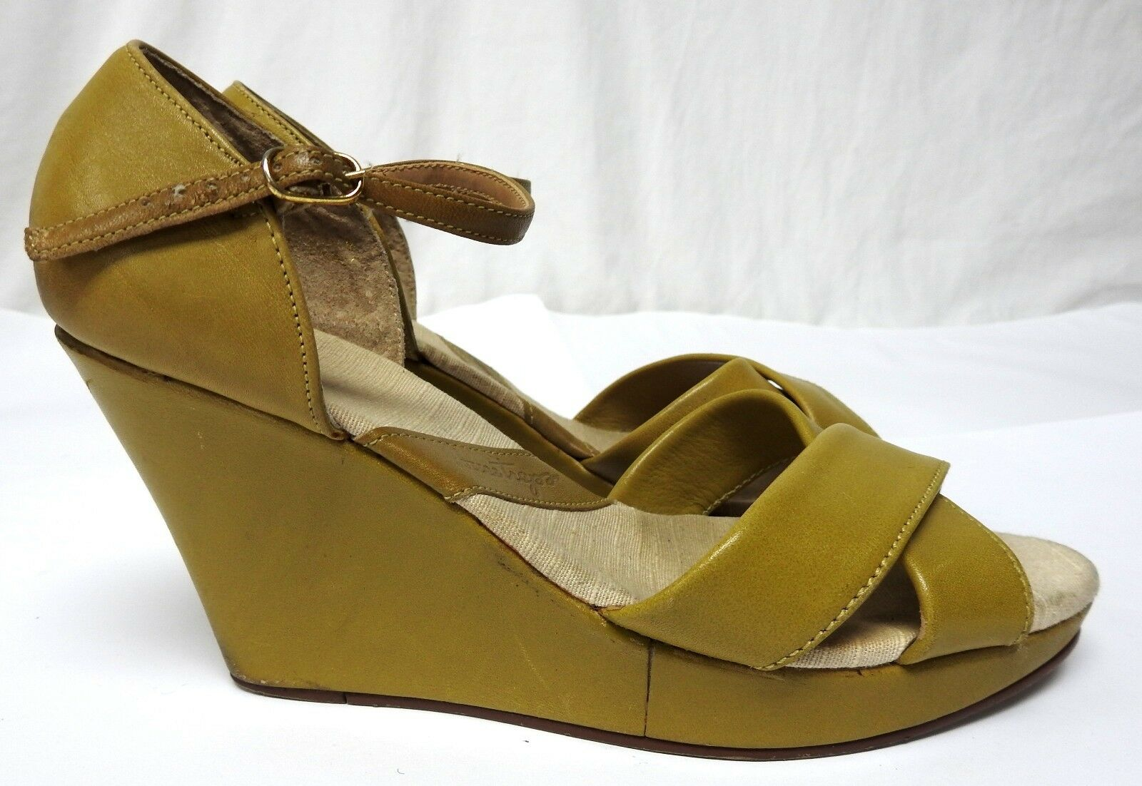 Green high heel wedge sandals open toe women's 7.5 7.5 women's leather shoes ankle strap 4e791e