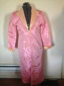 Vintage-80s-PINK-Iridescent-TAFFETA-Long-EVENING-COAT-sz-L-XL