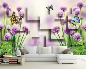 Papel Pintado Mural De Vellón Mariposa De Jardín Sol 3 Paisaje Fondo De Pansize