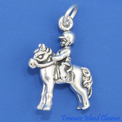 CHILD RIDING PONY HORSE 3D .925 Solid Sterling Silver Charm