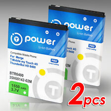 2 x 1550mAh for HTC Mytouch 4G Thunderbolt BTR6400 PD 42100 Extended Battery