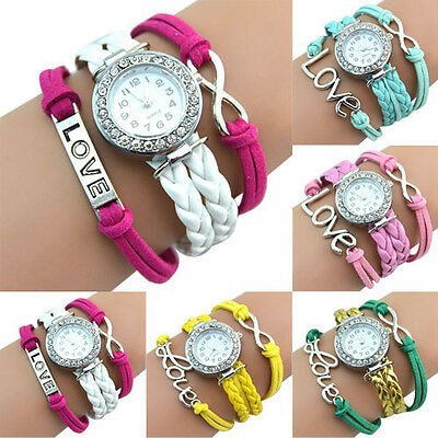 NEW FASHION ANTIQUE SILVER INFINITY LOVE CHARM BRACELET LEATHER CRYSTAL WATCH
