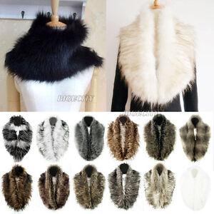 Women-Faux-Raccoon-Fur-Fluffy-Collar-Scarf-Shawl-Stole-Wrap-Scarves-Warmer