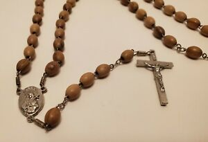 VINTAGE-SILVER-TONE-CROSS-amp-WOOD-BEADS-ITALY-RELIQUARY-ROSARY