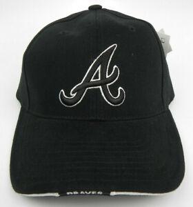 ATLANTA BRAVES MLB BLACK ON BLACK AMERICAN NEEDLE STRAPBACK VINTAGE CAP HAT NWT!