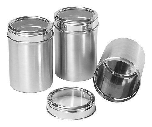 Lot de 3 Plain Acier Inoxydable Boîtes pots miroir poli avec clair Couvercle NEUF