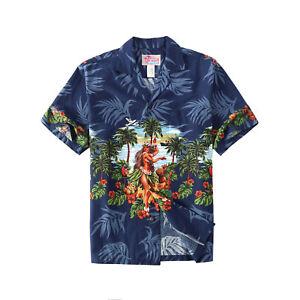 Made-in-Hawaii-Men-Aloha-Shirt-Luau-Cruise-Party-Hula-Girl-Beach-Palms-in-Navy