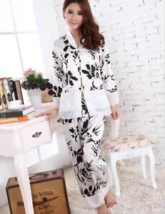 595c450365 Image is loading Womens-ladies-Silk-Satin-Pyjamas-Set-Sleepwear-Loungewear-