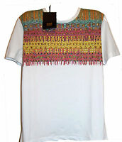 Cavalli Class White Floral Logo Cotton Men's T- Shirt Basica Shirt Sz 2xl