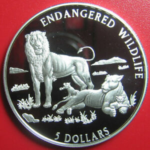1996-COOK-ISLANDS-5-SILVER-PROOF-LION-LIONESS-CUB-ENDANGERED-WILDLIFE-RARE-COIN