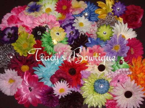 25 Flower Heads for Crafts Hair Clips Crochet Waffle Beanie Hats Wholesale