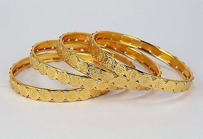 Ethnic Handmade Indian Fashion Jewelry Gold Tone 4pc. Bangle Bracelet Kada