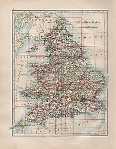 Carte Norfolk Angleterre.1904 Ancien Carte Angleterre Pays De Galles Cle Norfolk