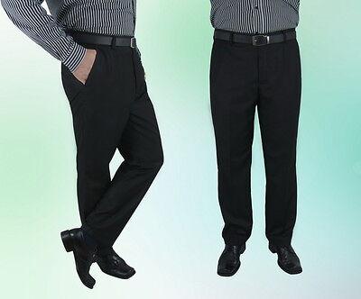 Herren Sommer Hose Schwarz Klassisch Anzughose 46 48 56 58 60