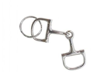 ENGLISH SADDLE HORSE D RING SNAFFLE BIT KEY RING SILVER METAL KEY ... 03675a3d2096