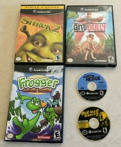 Nintendo-Gamecube-5-Game-Lot-Pac-Man-Shrek-2-Over-the-Hedge-Ant-Bully-Frogger