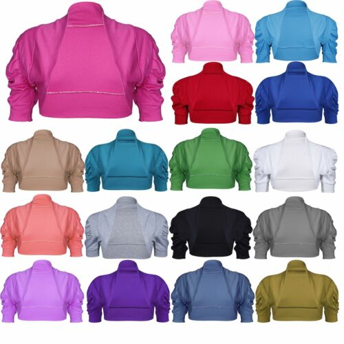 Kids Girls Cropped Stretchy Ruched New Sleeves Bolero Shrug Cardigan Crop Top