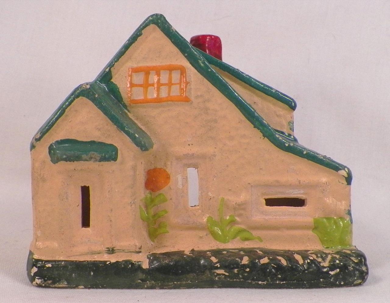 House Train Display Christmas Putz Compo Plaster Paris Tan HO Vintage Japan