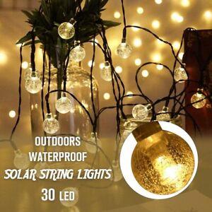 20ft-30-LED-Solar-String-Fairy-Lights-Outdoor-Waterproof-Warm-White-Garden-Decor