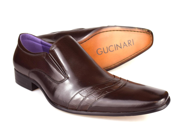 Gucinari f016r-p33 uomo Marroneee scuro scarpe slip-on slip-on slip-on di pelle 09a275