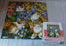 "Sure-Lox Garden Mischief Jigsaw Puzzle 550 Pieces Kittens Flowers 20"" x 20"""