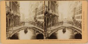 Italia Venezia Ponti 1896 Foto Stereo Vintage Albumina